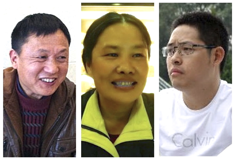 Activists Luo Qian (罗茜), Jia Lingmin (贾灵敏), and Wang Aizhong (王爱忠) are among several dozen to have been detained in the crackdown around the 25th anniversary of the Tiananmen Massacre. (images: RFA)
