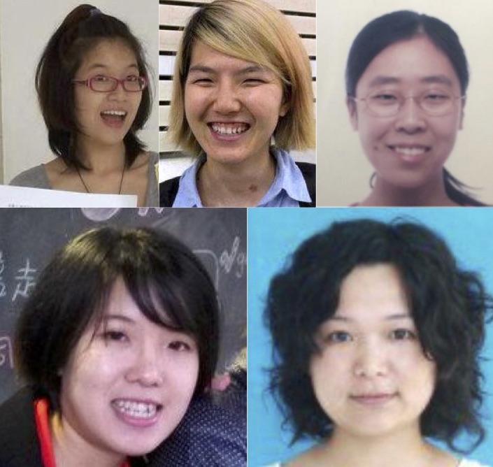 (左上角起)郑楚然、李婷婷、王曼、武嵘嵘、韦婷婷